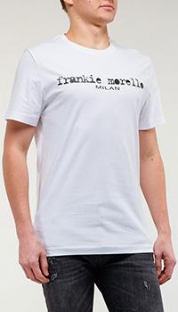 Белая футболка Frankie Morello с брендовым принтом, фото