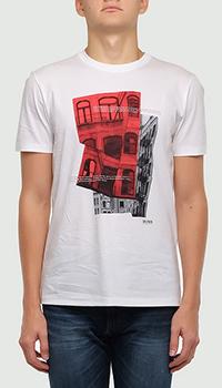 Белая футболка Hugo Boss с изображением Нью-Йорка, фото