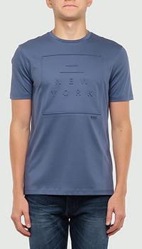 Синяя футболка Hugo Boss с тиснением, фото