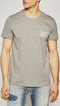 Серая футболка Hugo Boss с белым лого, фото