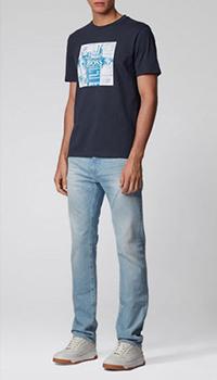 Мужская футболка Hugo Boss темно-синего цвета, фото