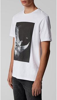 Мужская футболка Hugo Boss с принтом носорога белого цвета, фото