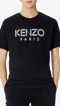 Черная футболка Kenzo с брендовым принтом, фото