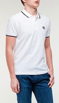 Белое поло Kenzo с брендовой нашивкой, фото