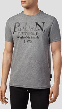 Серая футболка Philipp Plein P.L.N. с черным принтом, фото