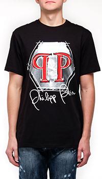 Черная футболка Philipp Plein с брендовым принтом, фото
