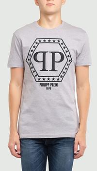 Серая футболка Philipp Plein с брендовым шестиугольником, фото