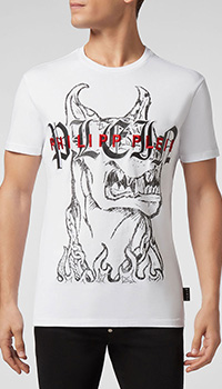Хлопковая футболка Philipp Plein с вышивкой-лого, фото