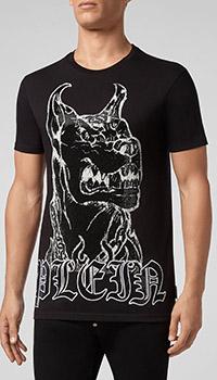 Черная футболка Philipp Plein с доберманом, фото