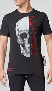 Черная футболка Philipp Plein с круглым вырезом, фото