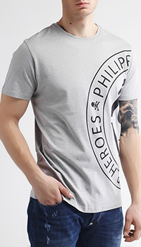 Серая футболка Philipp Plein с лого Heroes Plein, фото
