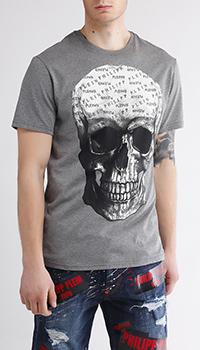 Серая футболка Philipp Plein с принтом-черепом, фото