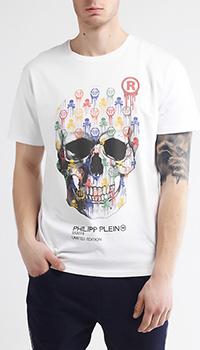 Футболка белого цвета Philipp Plein с разноцветным черепом, фото