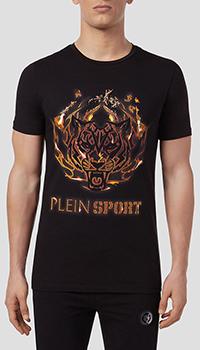 Черная футболка Philipp Plein Tiger с огненным принтом, фото