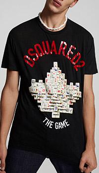 Черная футболка Dsquared2 с объемным принтом, фото
