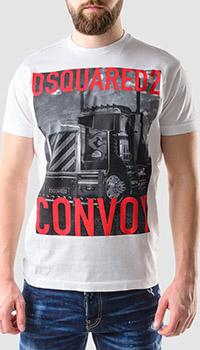 Хлопковая футболка Dsquared2 Truck Convoy белого цвета, фото