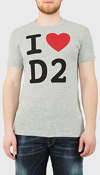 Серая футболка Dsquared2 с принтом, фото