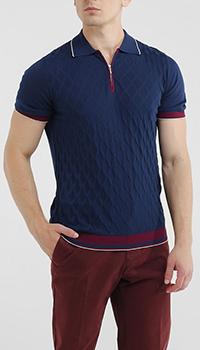Синяя футболка-поло Dalmine с красным декором на рукавах, фото