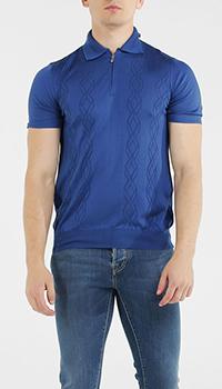 Синяя футболка-поло Bertolo из шелка, фото