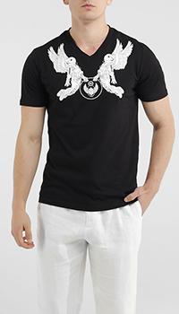 Черная футболка Frankie Morello с белым принтом, фото