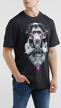 Футболка Frankie Morello черная с рисунком обезьяны, фото