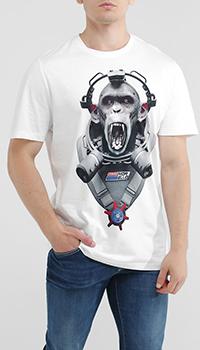 Белая футболка Frankie Morello с принтом-обезьяной, фото