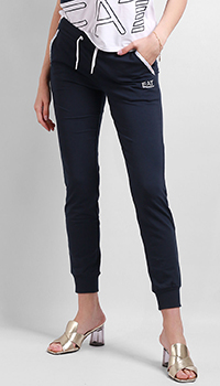Спортивные брюки Ea7 Emporio Armani с резинками на косточках, фото