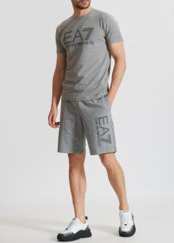 Серый спортивный костюм EA7 Emporio Armani шорты с футболкой, фото
