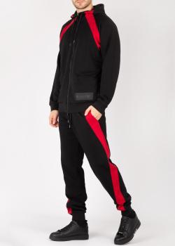 Черный спортивный костюм Bikkembergs с красными вставками, фото