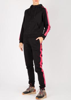 Черный спортивный костюм Bikkembergs с розовыми лампасами, фото