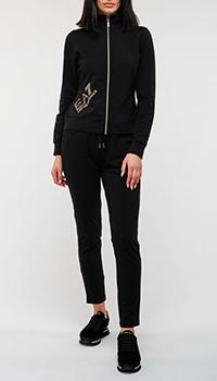Черный спортивный костюм Ea7 Emporio Armani с зауженными брюками, фото