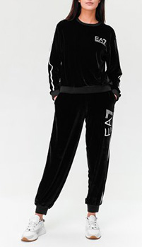Велюровый костюм Ea7 Emporio Armani черного цвета, фото
