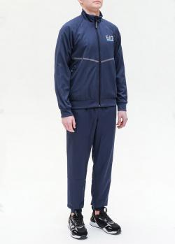 Синий спортивный костюм EA7 Emporio Armani с полосой, фото
