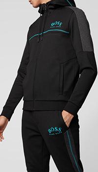 Черная спортивная кофта Hugo Boss с капюшоном, фото