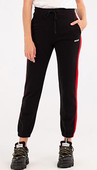 Черные спортивные брюки MSGM с лампасами, фото