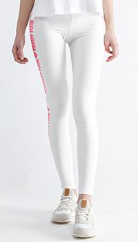 Хлопковые леггинсы Philipp Plein белого цвета, фото