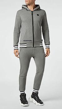 Спортивный костюм Philipp Plein с брендовым лого серого цвета, фото