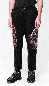 Черные спортивные штаны Philipp Plein с принтом, фото