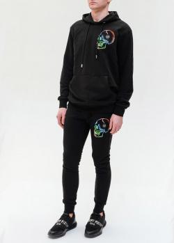 Черный спортивный костюм Philipp Plein с вышитым черепом, фото