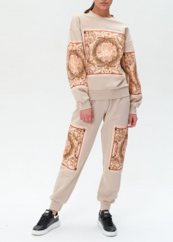 Бежевый костюм Philipp Plein с атласными вставками, фото