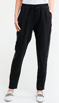 Черные спортивные брюки Liu Jo с золотистыми лампасами, фото