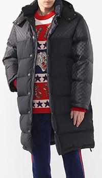 Длинный пуховик Gucci с капюшоном, фото