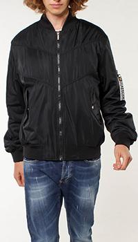 Черный бомбер Versace Jeans Couture с нашивкой-лого на спине, фото