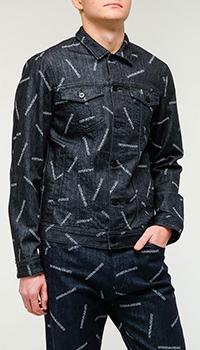 Джинсовая куртка Emporio Armani с принтом в виде логотипа, фото