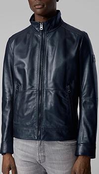 Темно-синяя куртка Hugo Boss на молнии, фото