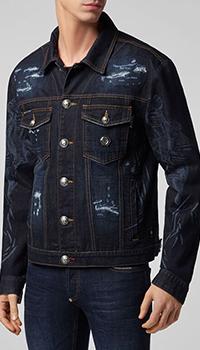 Джинсовая куртка Philipp Plein с принтом черепа на спине, фото