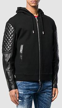 Черная куртка Dsquared2 с геометрической стежкой на рукавах, фото