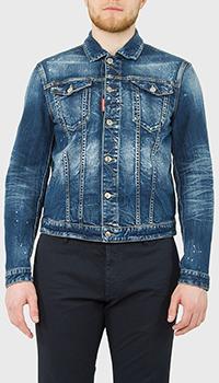 Джинсовая куртка Dsquared2 с принтом на спине, фото