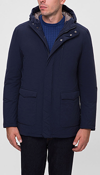 Пальто с капюшоном Herno синего цвета, фото