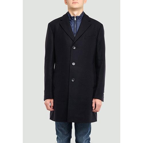 Темно-синее пальто Hugo Boss со съемным нагрудником, фото